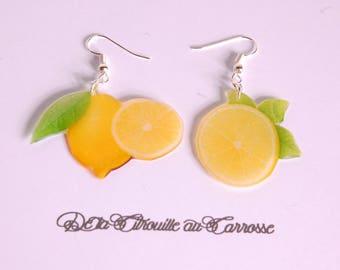 Lime and lemon yellow earrings