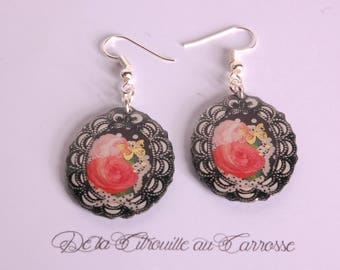 Romantic flowers and Butterfly Gold Medallion earrings