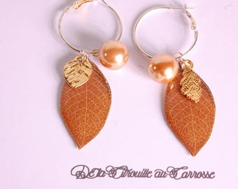 Autumn leaf, Brown and gold earrings