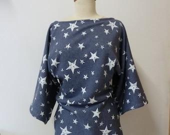Star denim pattern tunic