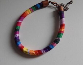 Ethnic woven cord bracelet