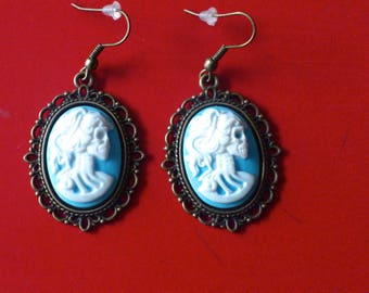 Earrings lolita skeleton skull vintage goth punk Rockabilly