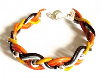 "Braided Bacelet ""Vesuvio"" - leather color fire, silver metal beads"