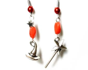 Earrings 'Spell', witch hat, wand, Orange beads.