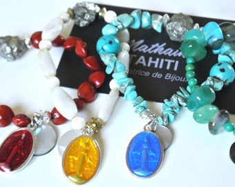 Red religious Medal and Pyrite bracelet