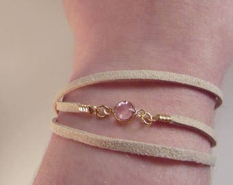 Pink suede with Crystal bracelet