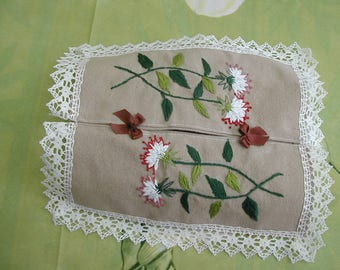 Hand stitched and embroidered tissue box cover