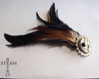Brooch watch - vintage brooch - Steampunk brooch - steampunk - steampunk jewelry - women's steampunk jewelry - feather pins