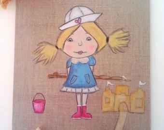 "Small painting on linen ""sea"""