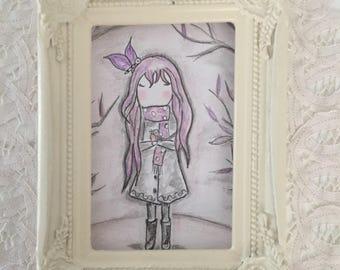 "Watercolor girl ""Lilipapillon"" kid's room"