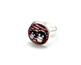 Ring cabochon out of glass cats, red stripes, poppy jewelry