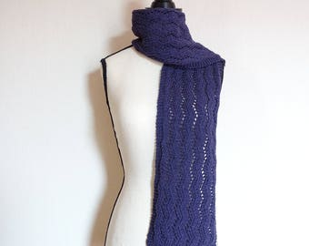Women's hand knit scarf, purple scarf, wool and cotton scarf, purple lace scarf, all seasons scarf, gift for her