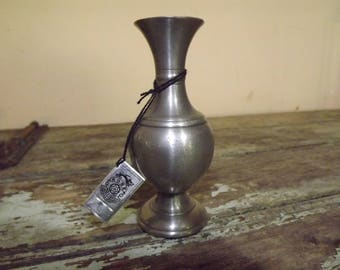 French 'Rose Design' Etain / Tin Vase