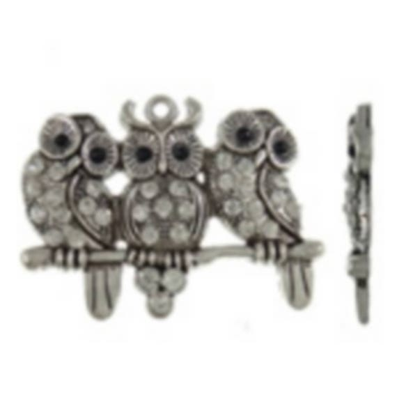 """1 large charm """"triple owls with art"""" silver color size 56 x 44 mm"""