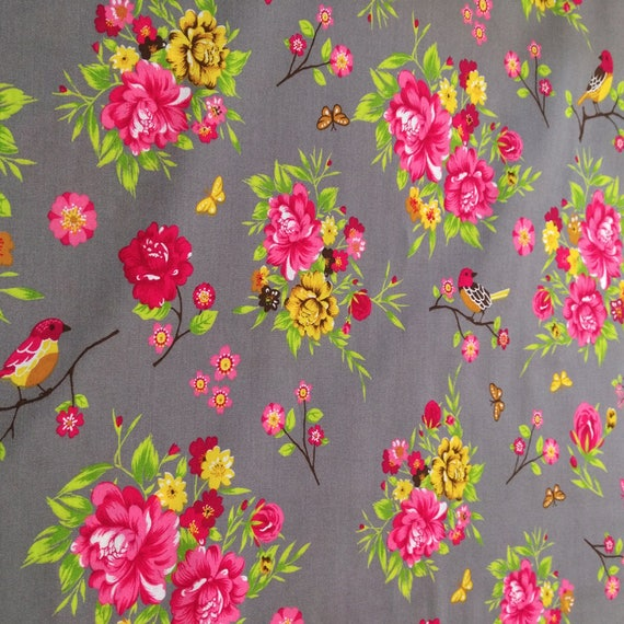 "Fabric pattern ""flower"" cotton - coupon 50 x 55 cm"