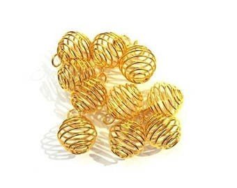 Bird cage bead with ring 8 x 9 - gold plated (10 pieces)