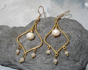 metal chandelier Pearl Crystal earrings