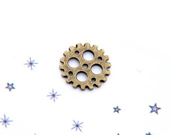 bronze charm pendant steampunk metal toothed wheel stained No. 2