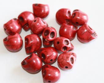 Skull charm, red/purple, 10 * 13 mm, set of 12