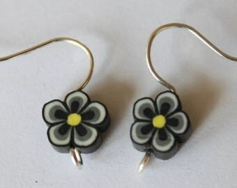 Earrings black polymer clay, the pair