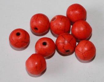 Stone beads, orange, 8mm, set of 10