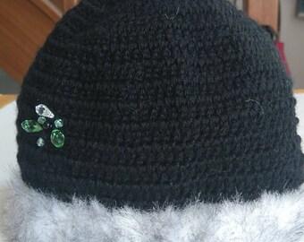 Black crochet edge wool effect grey mink Hat