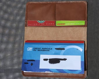 Checkbook and leather card holder