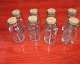 set of 8 bottles with corks glass