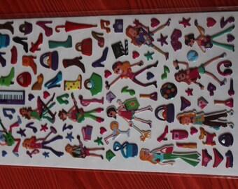 sheet of stickers embossed manequin dance girls