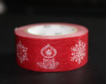 roll of masking tape white red snowflake candle