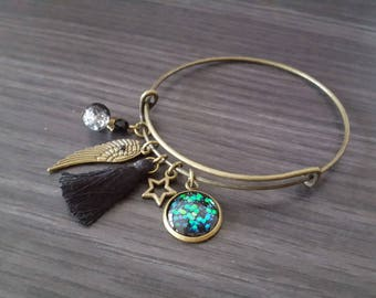 Black Angel Bangle Bracelet