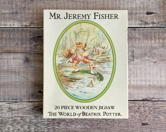 Mr. Jeremy Fisher Puzzle - 20 Piece Wooden Jigsaw from The World of Beatrix Potter - Jeremy Fisher Wooden Jigsaw Puzzle - Beatrix Potter