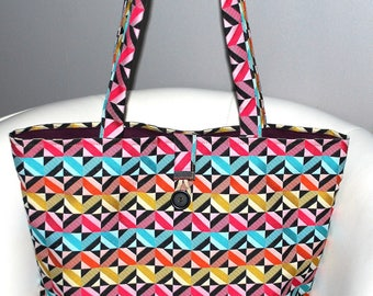 Tote bag multicolored upholstery fabric