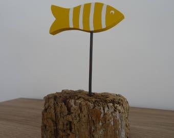 Yellow fish on Driftwood base striped