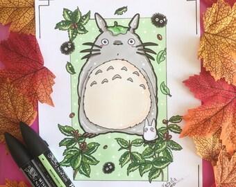 Hand made drawing Totoro (ORIGINAL, no print)