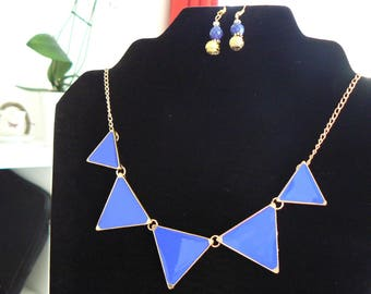 Royal blue triangle mmetal gold adornment