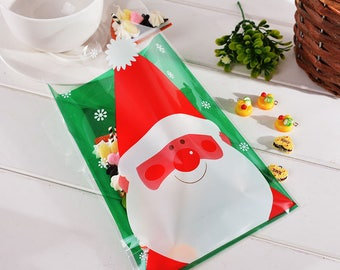 10 sachets bags pouches Christmas plastic 20x14cm
