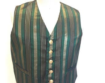 3XL Green, Gold, and Black Stripe Vest