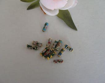 Set of 12 multicolor cloisonne tube beads