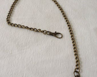 Brass chain of 52 cm with two hooks for bags DIY sewing notions designs