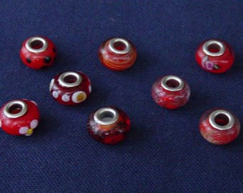 Red dominant 14 glass Lampwork beads 8 x 10 mm