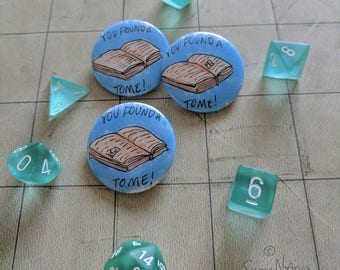 """Magic Tome 1.5"""" Button Dungeons and Dragons"""
