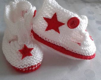 Red and white baby Bootie