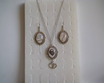 Special Valentine's day set earrings and necklace cabochon