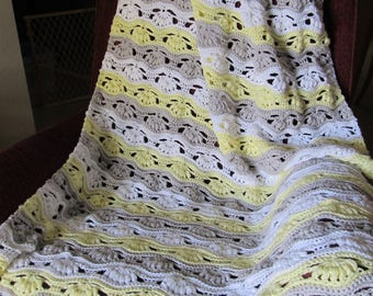 Yellow, Gray and White Crochet Lapghan