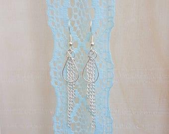 Teardrop chain dangle earrings in silver color Nickel free