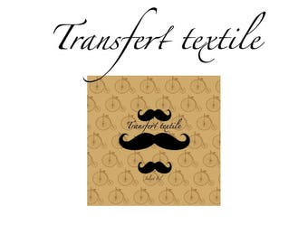 Textile transfer So mustache ° ° square 7cm bicycle old Jul and wire design