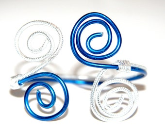 Blue/silver - aluminum wire - handmade