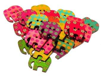 25 buttons, multicolored elephants 3x3cm