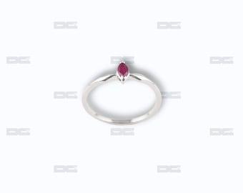 White Gold 18 k ring, Ruby.